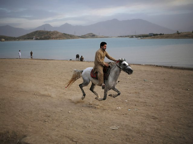 An Afghan man rides a horse for leisure along Qargha lake, in Kabul, Afghanistan July 21, 2015. (Photo by Ahmad Masood/Reuters)