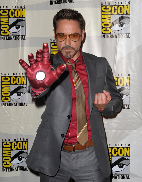 "Robert Downey Jr. doesn't just walk in Iron Man's suit – he's a fan in real life. He attended Marvel Studios's Iron Man 3 panel during San Diego Comic-Con in 2012 partially as the superhero, partially as Tony Star, and completely as his charming self. Photo: Actor Robert Downey Jr. attends Marvel Studios ""Iron Man 3"" panel during Comic-Con International 2012 at San Diego Convention Center on July 14, 2012 in San Diego, California. (Photo by Albert L. Ortega/Getty Images)"