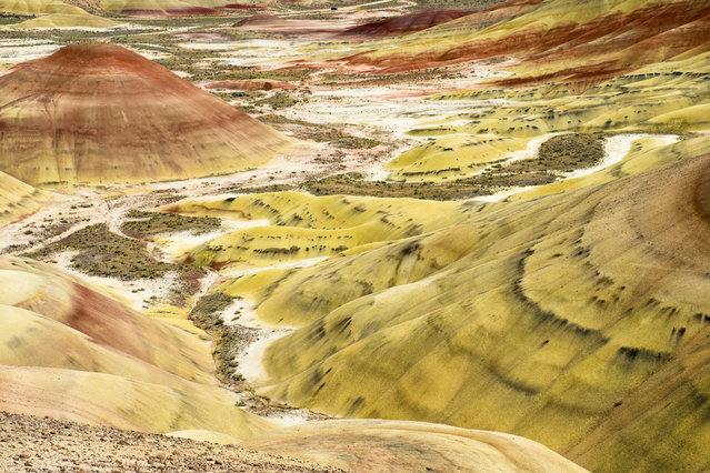 """Layers of breathtaking colour streak the rolling hills of this vast desert, making the landscape appear as though it has been tie-dyed. The natural phenomenon, nicknamed the """"Painted Desert"""", was formed when the area was once a river floodplain. (Photo by Mark Brodkin/Solent News/SIPA Press)"""