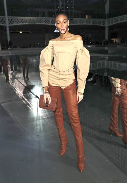 Winnie Harlow attends the Burberry Autumn/Winter 2020 show during London Fashion Week at Kensington Olympia on February 17, 2020 in London, England. (Photo by David M. Benett/Dave Benett/Getty Images for Burberry)