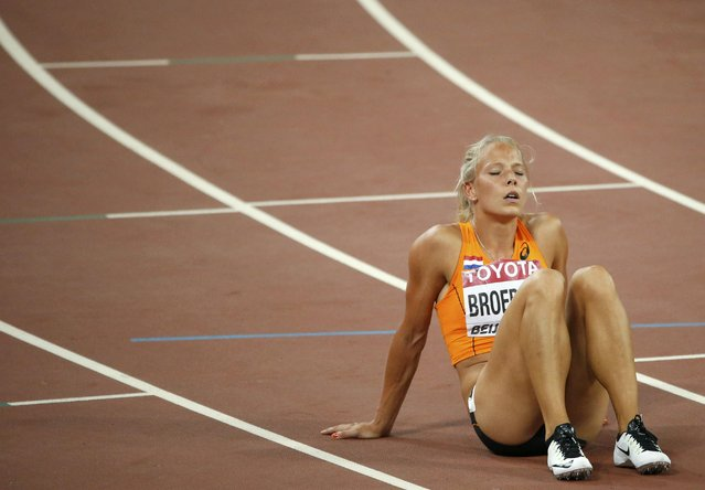 Nadine Broersen of Netherlands reacts after competing in the 200 metres heats of the women's heptathlon  during the 15th IAAF World Championships at the National Stadium in Beijing, China August 22, 2015. (Photo by David Gray/Reuters)