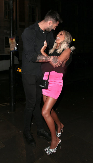 UK Love Island's Adam Collard and Laura Anderson seen attending the launch of Sam Bird's new single in London's Hard Rock Hotel on March 05, 2020 in London, England. (Photo by Ricky Vigil M/GC Images)