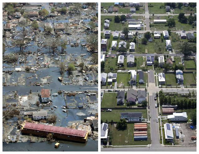 This combination of September 11, 2005 and July 29, 2015 aerial photos show the Lower Ninth Ward of New Orleans flooded by Hurricane Katrina and the same area a decade later. (Photo by David J. Phillip/Gerald Herbert/AP Photo)