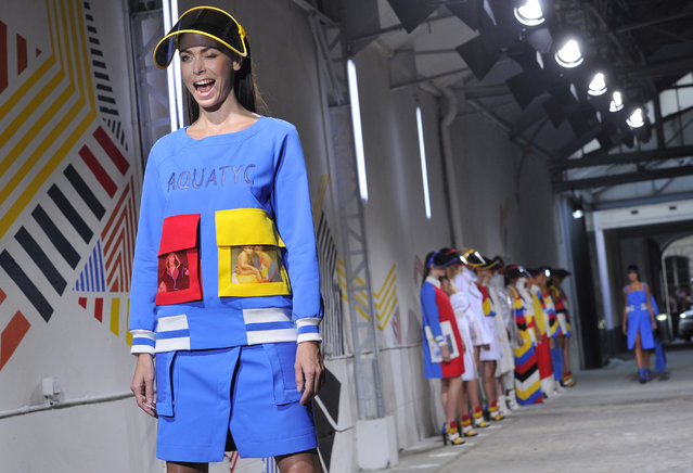 A model wears a creation for Jean-Charles de Castelbajac's Spring/Summer 2015 ready-to-wear fashion collection in Paris, France, Tuesday, September 30, 2014. (Photo by Zacharie Scheurer/AP Photo)