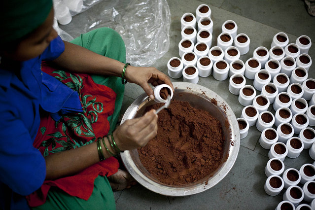 A woman packages toothpaste made from cow waste at the Keshav Srushti cow shelter September 7, 2015 in Thane, India. Earlier this year the Maharashtra government banned the slaughter of cows and the possession of beef. (Photo by Allison Joyce/Getty Images)