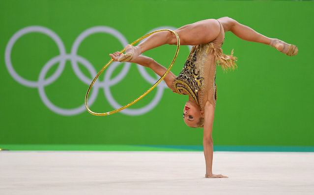 Yana Kudryavtseva of Russia performs during the Rhythmic Gymnastics Individual All-Around  on August 20, 2016 at Rio Olympic Arena in Rio de Janeiro, Brazil.  (Photo by Laurence Griffiths/Getty Images)