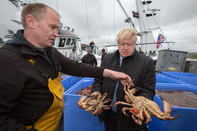 British Prime Minister Boris Johnson holds a crab caught on the Carvela with Karl Adamson at Stromness Harbour on July 23, 2020 in Stromness, Scotland. This week marks one year as U.K. Prime Minister for Conservative Party leader Boris Johnson. Today he is visiting businesses in the Orkney Islands in Scotland to reaffirm his commitment to supporting all parts of the UK through the Coronavirus pandemic. Later he will visit a military base in Moray to thank Military personnel for their service. (Photo by Robert Perry – WPA Pool/Getty Images)