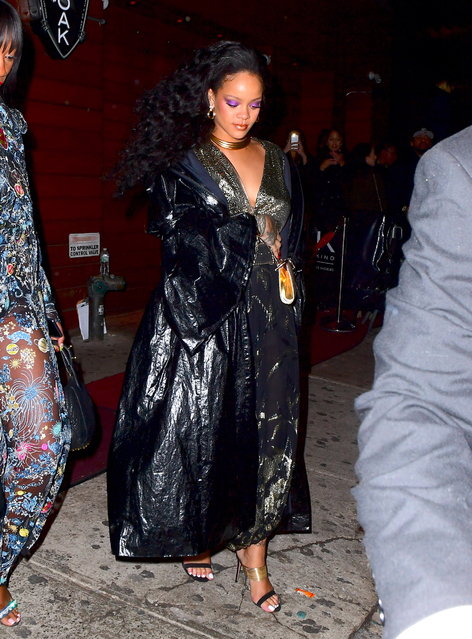 Rihanna and her boyfriend, Hassan Jameel, were spotted leaving 1Oak Nightclub in NYC on Sunday night, January 29, 2018, after Rihanna's big Grammy Win. She stunned in a shimmering metallic dress, and a bold purple eye shadow as she left the club at 4:30am. Hassan , who appeared to be unstable on his feet left the club before her at 3:45am. (Photo by 247PAPS.TV/Splash News and Pictures)