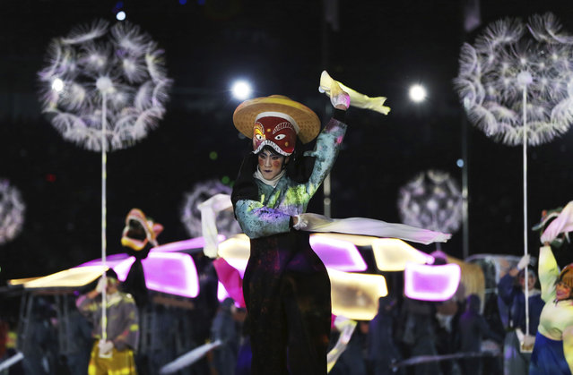 Performers participate in the closing ceremony of the 2018 Winter Olympics in Pyeongchang, South Korea, Sunday, February 25, 2018. (Photo by Natacha Pisarenko/AP Photo)
