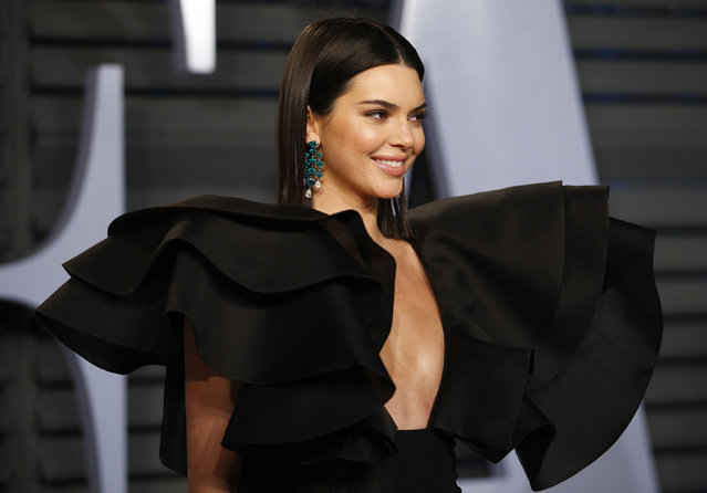 Kendall Jenner attends the 2018 Vanity Fair Oscar Party hosted by Radhika Jones at the Wallis Annenberg Center for the Performing Arts on March 4, 2018 in Beverly Hills, California. (Photo by Danny Moloshok/Reuters)