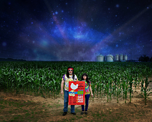 """""""Searching for Woodstock. After 44 years, Sebastian Weed and Sapphire Skye find collective cosmic consciousness in a cornfield in Chickasaw County, Mississippi"""". (Photo by Studio d'Xavier)"""