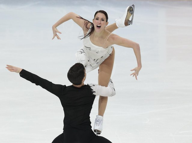 Charlene Guignard and Marco Fabbri, of Italy, skate their free dance at the Rostelekom Cup ISU Grand Prix of figure skating event, in Moscow, Russia, on Saturday, November 5, 2016. (Photo by Ivan Sekretarev/AP Photo)