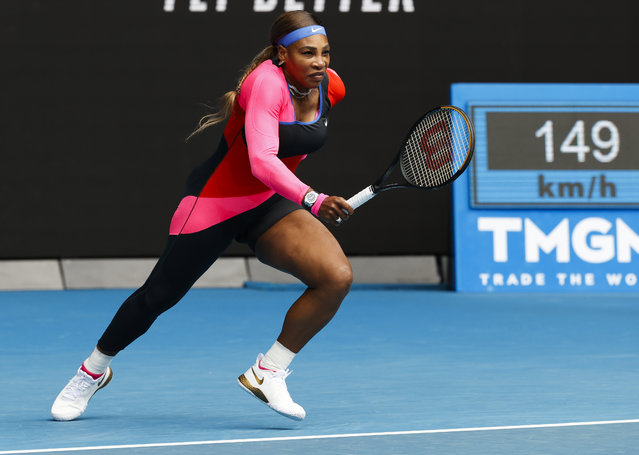 United States' Serena Williams runs to return a shot to Germany's Laura Siegemund during their first round match at the Australian Open tennis championship in Melbourne, Australia, Monday, February 8, 2021. (Photo by Rick Rycroft/AP Photo)