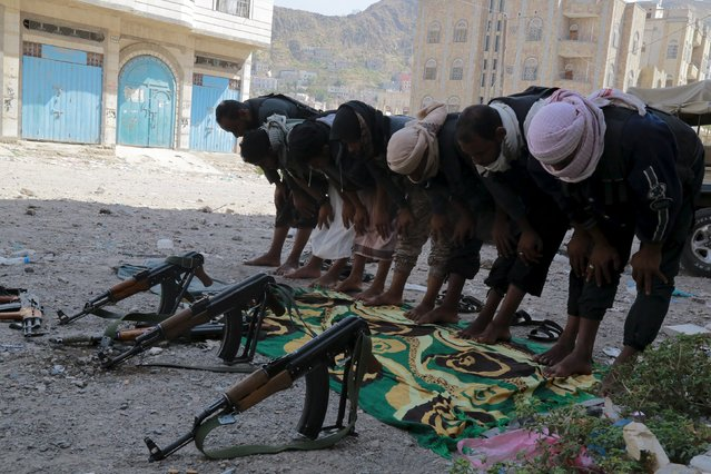 Members of the pro-government Popular Resistance Committees perform prayers during fighting in Yemen's southwestern city of Taiz December 17, 2015. (Photo by Reuters/Stringer)