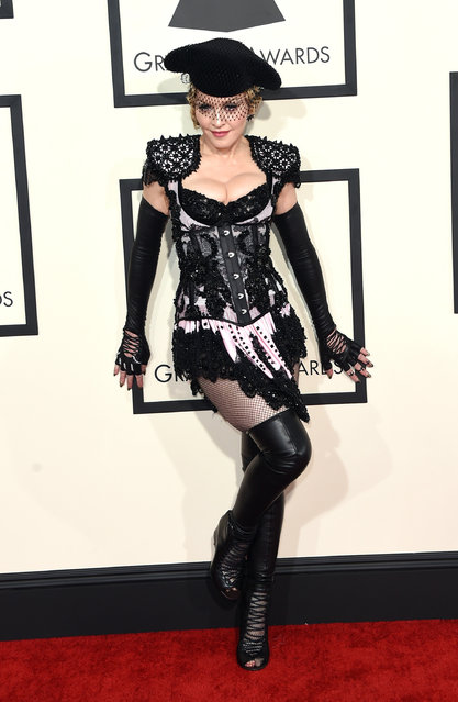 Madonna arrives at the 57th annual Grammy Awards at the Staples Center on Sunday, February 8, 2015, in Los Angeles. (Photo by Jordan Strauss/Invision/AP Photo)