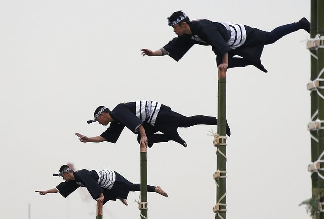 Members of the Edo Firemanship Preservation Association display their balancing skills atop bamboo ladders during a New Year demonstration by the fire brigade in Tokyo, Japan, January 6, 2016. (Photo by Yuya Shino/Reuters)