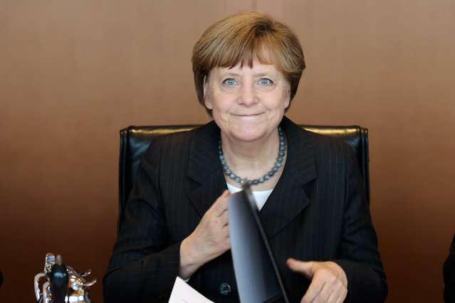 German Chancellor Angela Merkel leads the weekly cabinet meeting of her government at the chancellery on Wednesday, April 1, 2015 in Berlin. (Photo by Markus Schreiber/AP Photo)