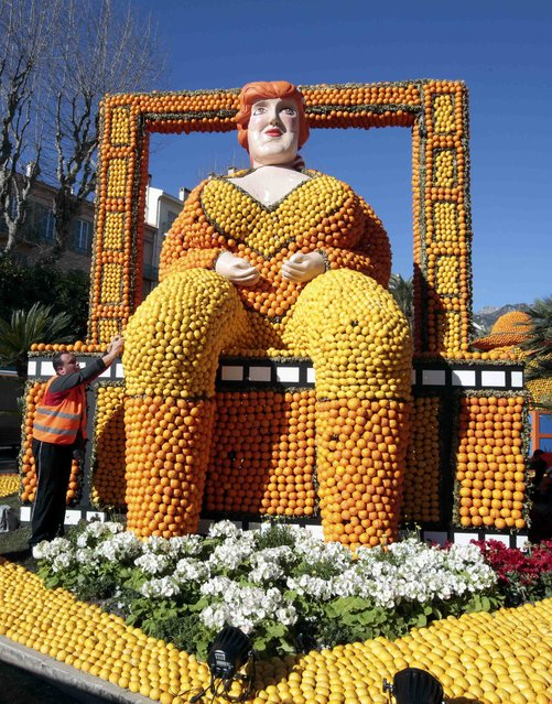 "A worker puts the final touch to a replica of a giant woman made with lemons and oranges which shows a scene of the movie ""Amarcord"" during the Lemon festival in Menton, France, February 10, 2016. (Photo by Eric Gaillard/Reuters)"