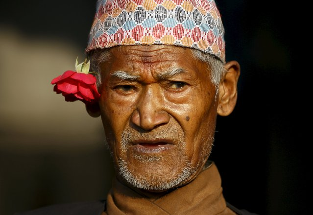 A man wearing a traditional Nepali cap takes part in the Bisket festival at Bhaktapur April 10, 2015. (Photo by Navesh Chitrakar/Reuters)