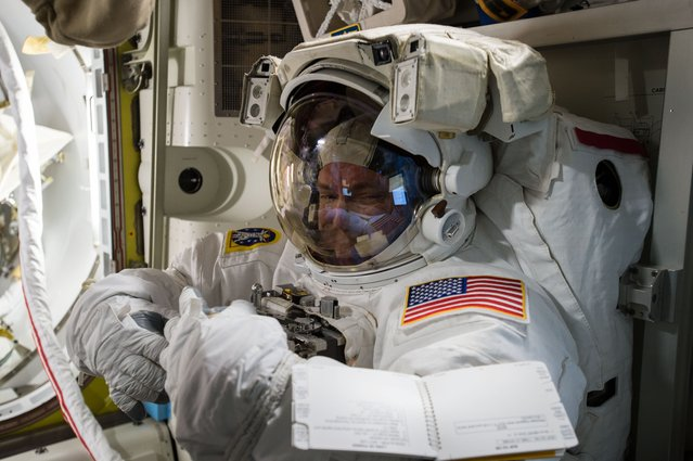 In this photo provided by NASA and posted on Twitter on October 26, 2015, astronaut Scott Kelly tries on his spacesuit inside the U.S. Quest airlock of the International Space Station. NASA opened its astronaut-application website Monday, Dec. 14, 2015. It's accepting applications through Feb. 18, 2016. (Photo by NASA via AP Photo)