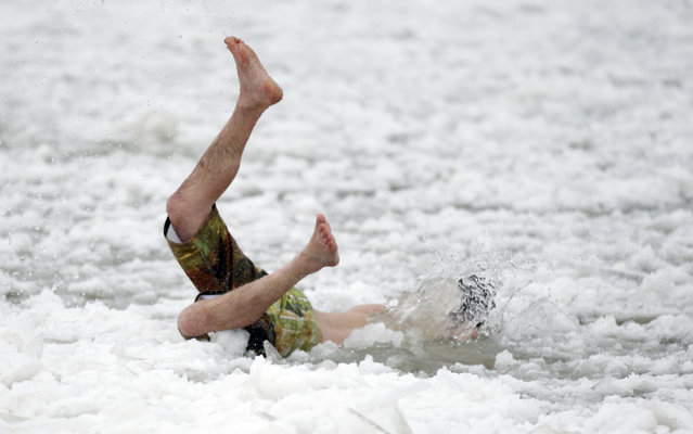 Pat Hallor goes face first into the ice waters. The annual Polar Bear Plunge in Milwaukee was held at Bradford Beach on Wednesday, January 1, 2014. (Photo by Mike De Sisti)