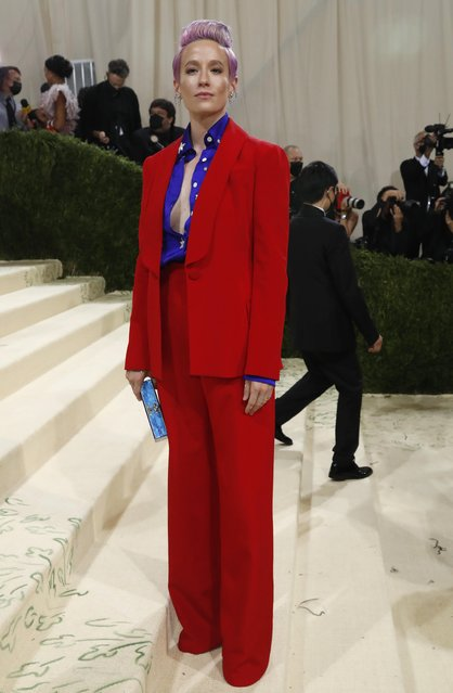US soccer player Megan Rapinoe arrives for the 2021 Met Gala at the Metropolitan Museum of Art on September 13, 2021 in New York. (Photo by Mario Anzuoni/Reuters)