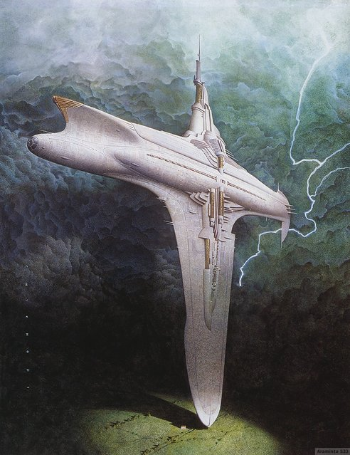 Cover for Starship Titanic Videogame. Artwork by Oscar Chichoni