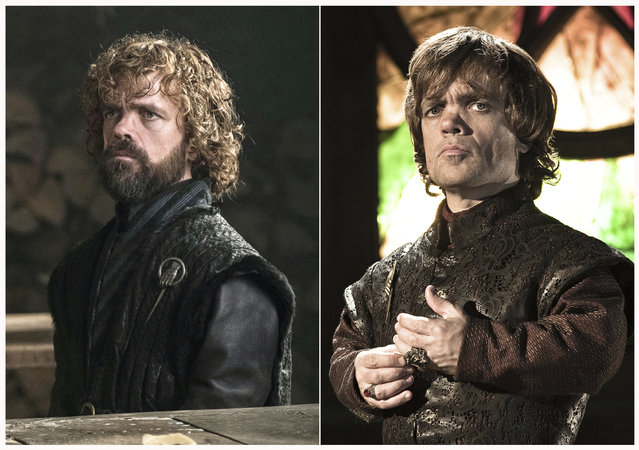 "This combination photo of images released by HBO shows Peter Dinklage portraying Tyrion Lannister in ""Game of Thrones"". The final season of the popular series premieres on April 14. (Photo by HBO via AP Photo)"