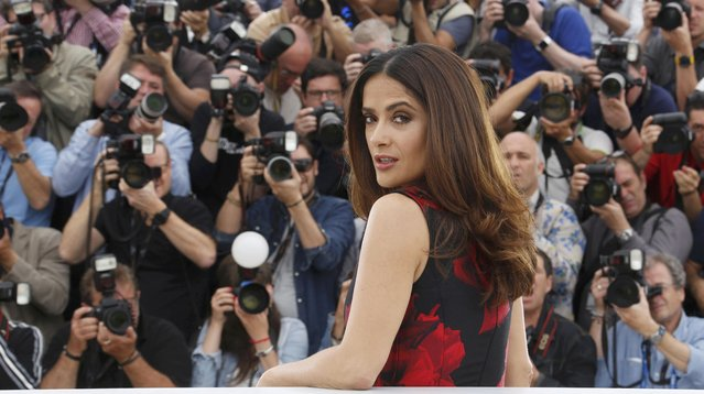 """Cast member Salma Hayek poses during a photocall for the film """"Tale of Tales"""" in competition at the 68th Cannes Film Festival in Cannes, southern France, May 14, 2015. (Photo by Regis Duvignau/Reuters)"""