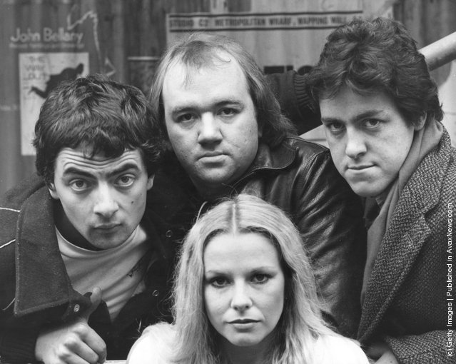 British comedians (left to right) Rowan Atkinson, Mel Smith and Griff Rhys Jones with New Zealand-born comedian Pamela Stephenson