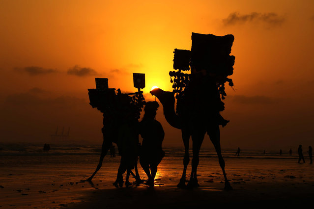 A man walks his camels during sunset at the beach in Karachi, Pakistan, 03 July 2019. (Photo by Shahzaib Akber/EPA/EFE)