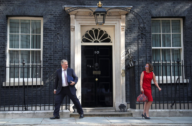 Newly appointed Britain's Minister Of State For The Home Department Brandon Lewis and newly appointed Britain's Leader of the House of Lords Natalie Evans are seen outside Downing Street in London, Britain on July 25, 2019. (Photo by Hannah McKay/Reuters)