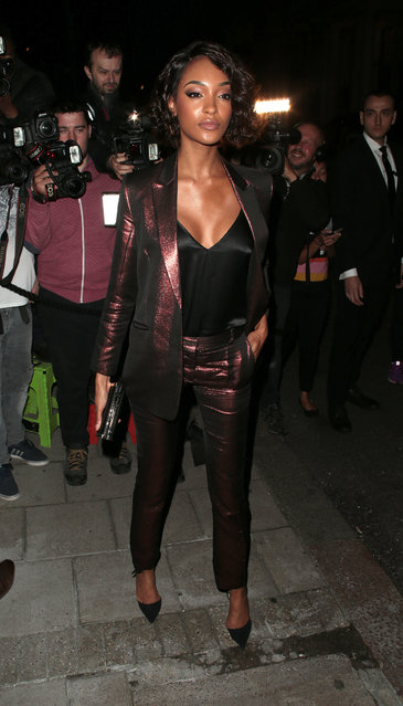Jourdan Dunn seen attending s/s 2019: Vogue X Victoria Beckham - party at Mark's Club during London Fashion Week September 2018 on September 16, 2018 in London, England. (Photo by Ricky Vigil/GC Images)