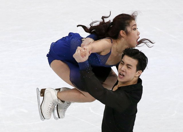 Shiyue Wang and Xinyu Liu of China perform their routine during the ice dance short dance at the ISU World Figure Skating Championships in Helsinki, Finland, on March 31, 2017. (Photo by Grigory Dukor/Reuters)