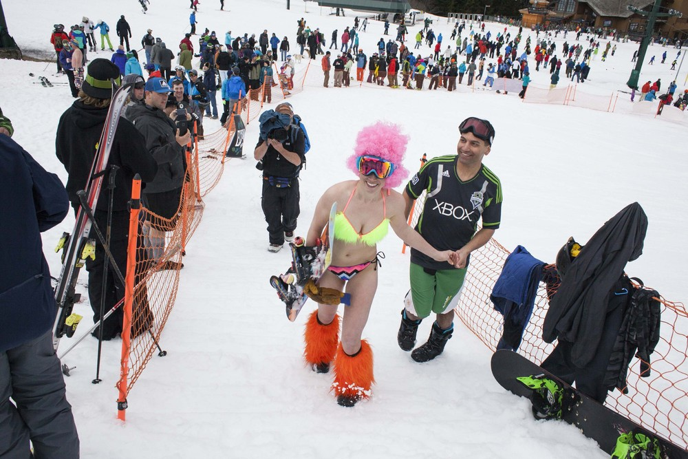 Skiing in Skivvies