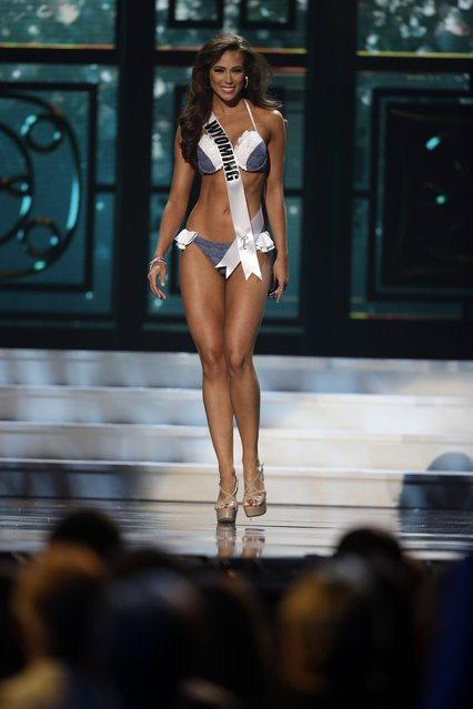 Miss Wyoming, Caroline Scott, competes in the bathing suit competition during the preliminary round of the 2015 Miss USA Pageant in Baton Rouge, La., Wednesday, July 8, 2015. (Photo by Gerald Herbert/AP Photo)