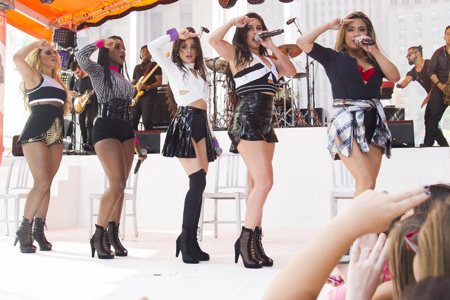 "Fifth Harmony members, from left, Dinah Jane Hansen, Normani Kordei, Camila Cabello, Lauren Jauregui and Ally Brooke perform on NBC's ""Today"" show during the Toyota Summer Concert Series on Friday, July 10, 2015, in New York. (Photo by Charles Sykes/Invision/AP Photo)"