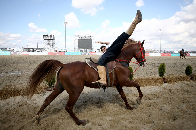 Mounted demonstrations performed during the 4th Etnospor Culture Festival held at Ataturk Airport, Istanbul, Turkey on October 06, 2019. (Photo by Ahmet Bolat/Anadolu Agency via Getty Images)