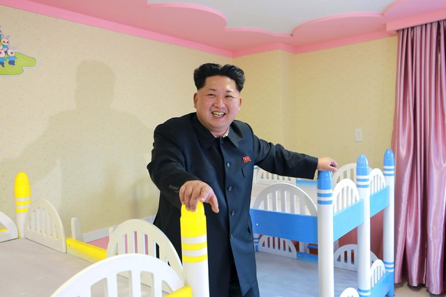 North Korean leader Kim Jong Un provides field guidance to Wonsan Baby Home and Orphanage, which is close to completion, in this photo released by North Korea's Korean Central News Agency (KCNA) on April 22, 2015. (Photo by Reuters/KCNA)
