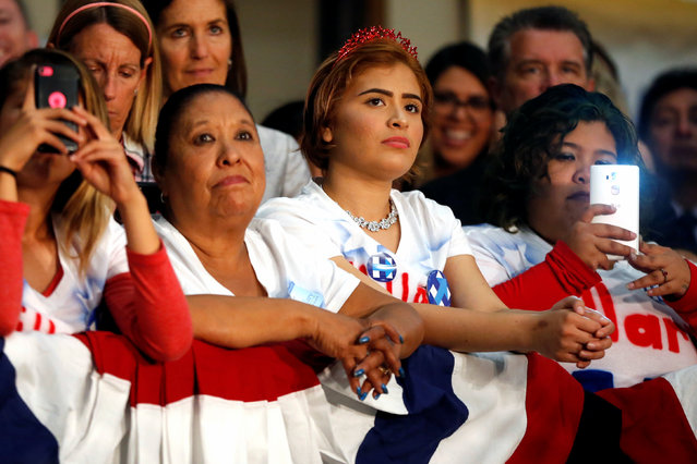 Supporters listen to U.S. Democratic presidential candidate Hillary Clinton speak at the UFCW Union Local 324 in Buena Park, California, U.S. May 25, 2016. (Photo by Lucy Nicholson/Reuters)