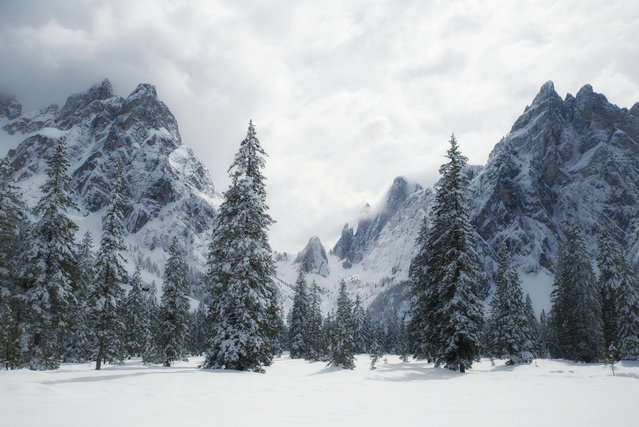 """""""Into Everything"""". This picture was taken during a weeks stay in the Dolomites. You see the beautiful Val Fiscalina covered in fresh snow. Photo location: Val Fiscalina, Dolomites. (Photo and caption by Petra Schmitz/National Geographic Photo Contest)"""
