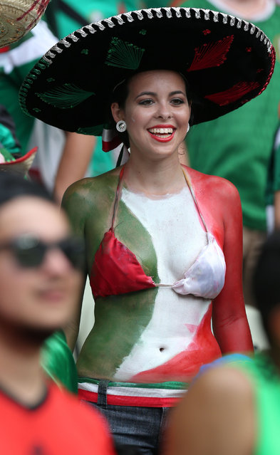 Mexican Lady fan at The Begining of the Match Brazil v Mexico, 2014 FIFA World Cup football match, Group A, Estadio Castelao, Fortaleza, Brazil, on 17 June 2014. (Photo by BPI/Rex Features)