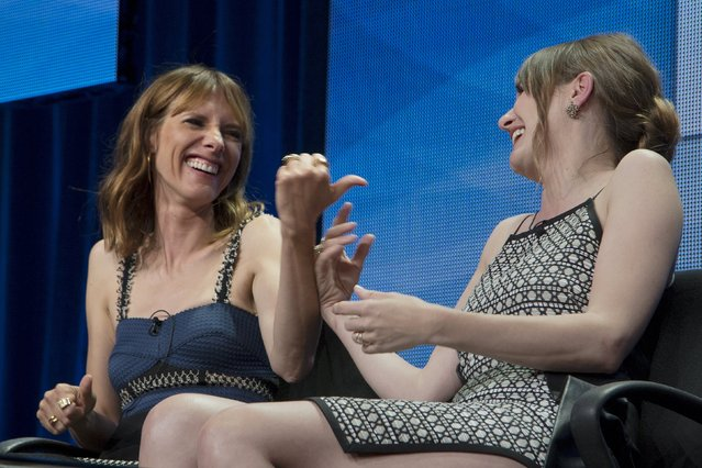 "Actors Dolly Wells and Emily Mortimer (R) appear for the HBO ""Doll and Em"" presentation in the cable portion of the Television Critics Association Summer Press Tour in Beverly Hills, California July 30, 2015. (Photo by David McNew/Reuters)"