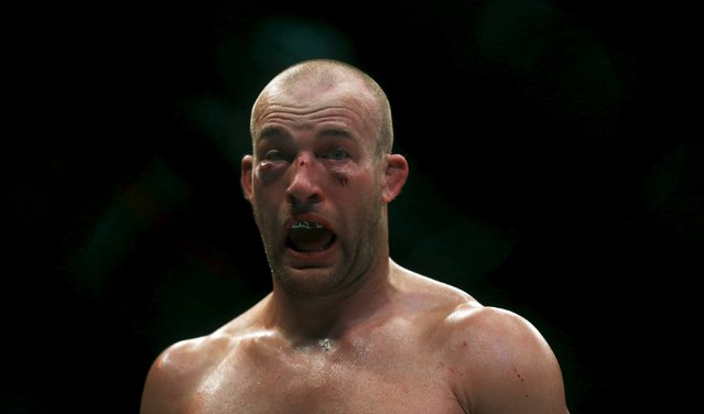 Patick Cummins of U.S reacts as he fights against Rafael Cavalcante of Brazil during the Ultimate Fighting Championship (UFC), a professional mixed martial arts (MMA) competition in Rio de Janeiro, Brazil August 1, 2015. (Photo by Ricardo Moraes/Reuters)