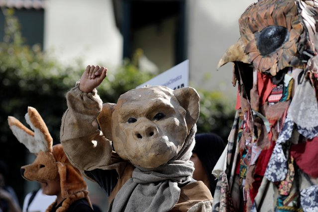 Protesters dressed in costumes attend a demonstration over Australia's bushfires crisis, outside the Australian embassy in Lima, Peru on January 10, 2020. (Photo by Guadalupe Pardo/Reuters)