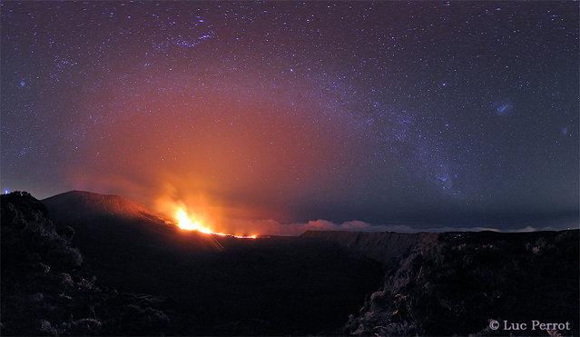 The Milky Way above the volcano Piton de la Fournaise