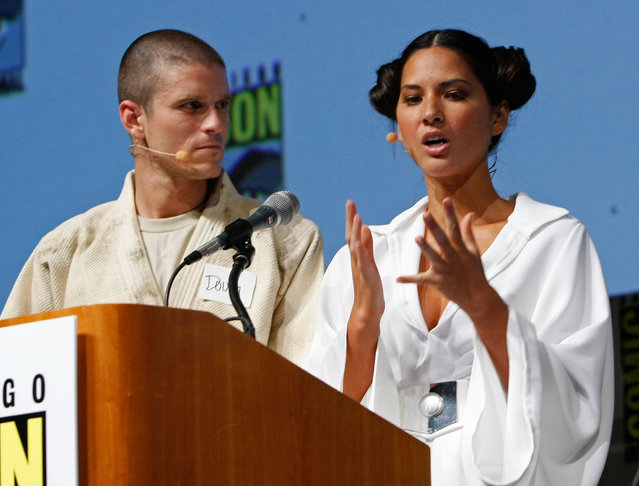 "Olivia Munn once explained exactly why she considered herself a geek: ""I can actually tear apart a PC and put in more memory and the fan – and I can basically turn any PC into a gaming rig. That's one"", she told. Photo: Actors Doug Benson and Olivia Munn speak during a panel discussion for Lucasfilm: Star Wars Spectacular at Comic-Con 2009 held at San Diego Convention Center on July 24, 2009 in San Diego, California. (Photo by Michael Buckner/Getty Images)"