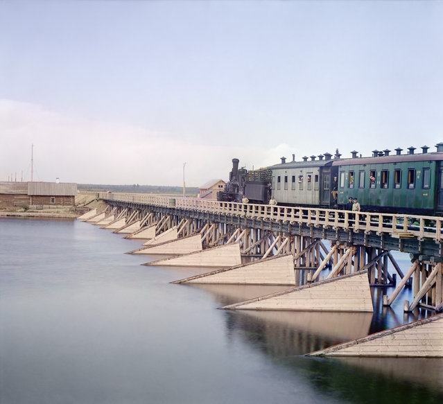 Photos by Sergey Prokudin-Gorsky. Railroad bridge over the Shuia River. Russia, Olonets province, Petrozavodsk uyezd (district), Shuya village, 1916