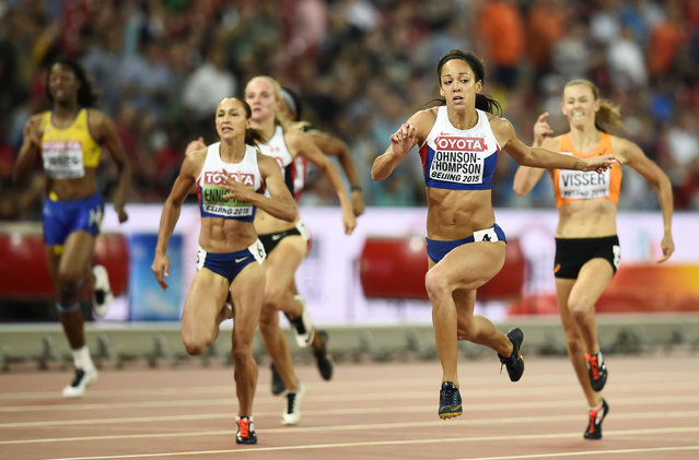 Katarina Johnson-Thompson of Britain (2nd R) competes in her heat of the 200 metres event of the women's heptathlon at the 15th IAAF World Championships at the National Stadium in Beijing, China August 22, 2015. (Photo by Dylan Martinez/Reuters)