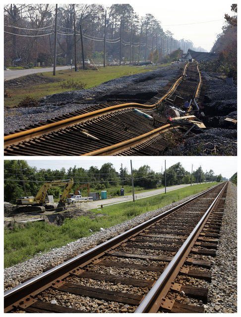 This combination of September 2, 2005 and August 14, 2015 photos shows damage to a railroad track in Waveland, Miss., from Hurricane Katrina, and the same site a decade later which is undergoing repairs to drainage pipes underneath the track which were washed out in the historic storm. (Photo by Marcio Jose Sanchez/Gerald Herbert/AP Photo)